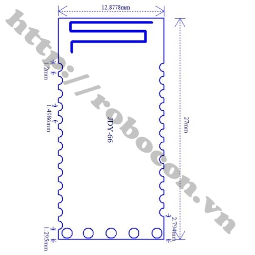 Kích thước Module Audio Bluetooth 4.2 JDY-66