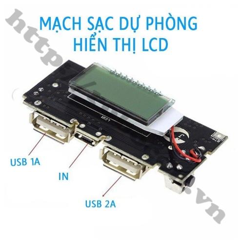 Mạch Sạc Dự Phòng 18650 1A/2A Hiển Thị LCD