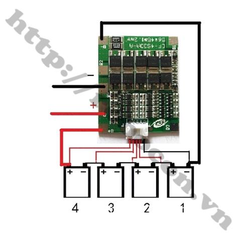 Sơ đồ đấu Mạch Sạc Và Bảo Vệ Pin Lifepo4 12.8V 4S 30A