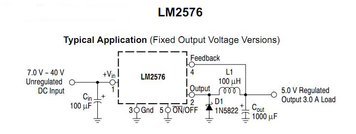 Mạch ổn áp dùng LM2576