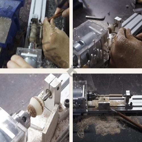 Sử dụng máy tiện mini 100W để tạo ra hạt vòng gỗ, chà nhám, đánh bóng