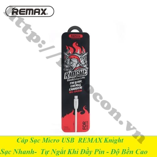 Cáp Sạc Nhanh MicroUSB Tự Ngắt Remax Knight RC-043m