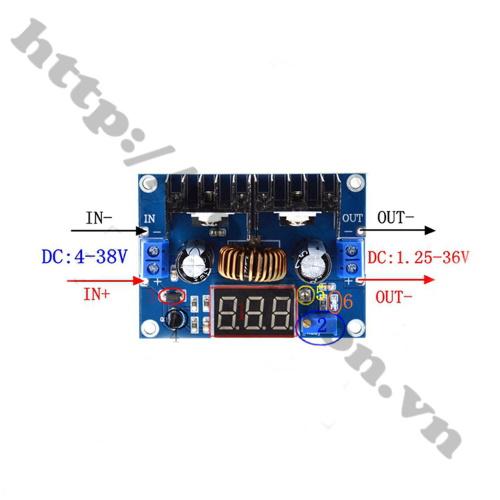 MDL298 Module Buck Hạ Áp DC-DC XL4016 8A 4-38V Hiển Thị LED
