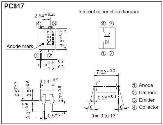Sơ đồ chân và cấu tạo PC817