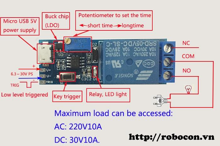 Module Relay đơn hẹn giờ, cổng Micro USB