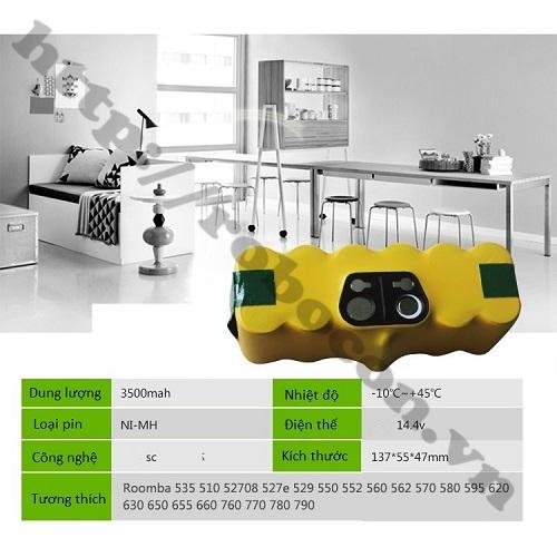 PPKP259 Khối Pin Sạc NiMH Irobot Roomba 14.4V 3500mAh Chuyên Dùng Cho Robot Hút Bụi