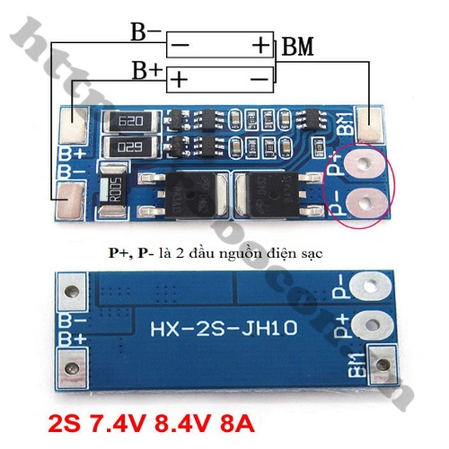PPKP67 Mạch Sạc Và Bảo Vệ Pin 7.4V-2S-8A