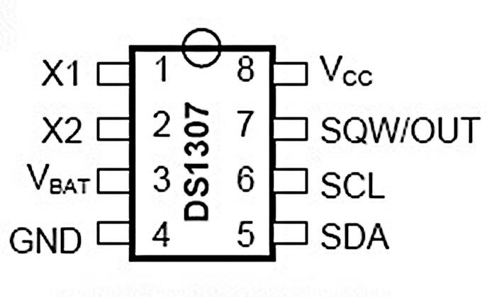 Sơ đồ chân IC thời gian DS1307