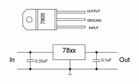 Sơ đồ mạch điện đơn giản với 7808