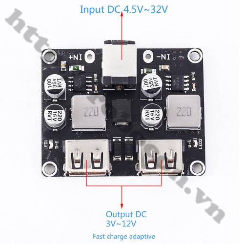 MDL309 Module Buck Hạ Áp DC 6-32V Ra 2 Cổng USB Sạc Nhanh QC 3.0