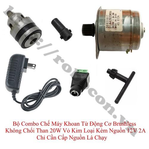 CBM149 Bộ Combo Chế Máy Khoan Từ Động Cơ Brushless Không Chổi Than 20W Vỏ Kim Loại Kèm Nguồn 12V 2A