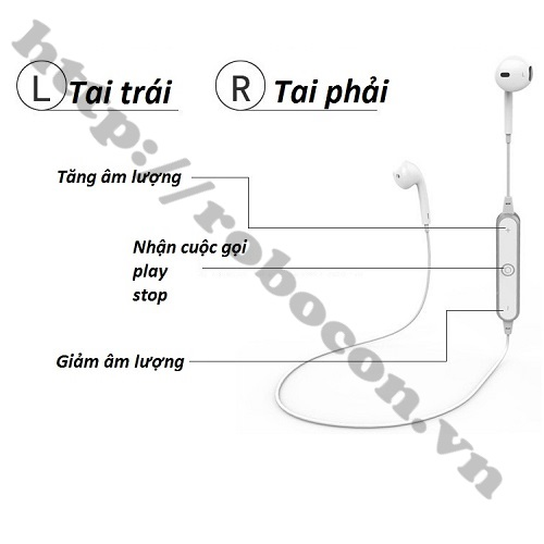 PKAT1 Tai Nghe Bluetooth Sports Headset S6 Siêu Bass