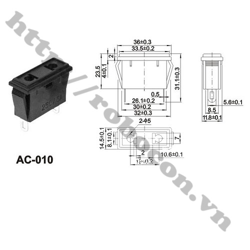 Jack Cắm Nguồn 2 Chân AC 250V-10A