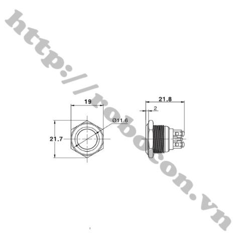 Nút Nhấn Đề Sắt Chống Nước 36VDC GQ16H-10