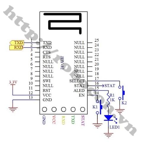 Sơ đồ chân Module Bluetooth 4.2 JDY-32