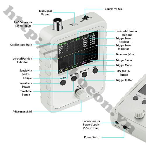 Chức năng và hướng dẫn sử dụng Máy Hiện Sóng Kỹ Thuật Số Cầm Tay Mini DSO150