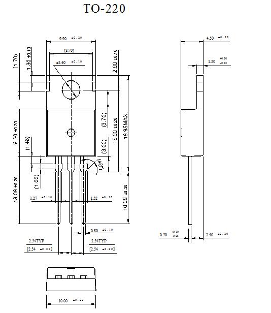 Sơ đồ cấu tạo và kích thước TIP42C