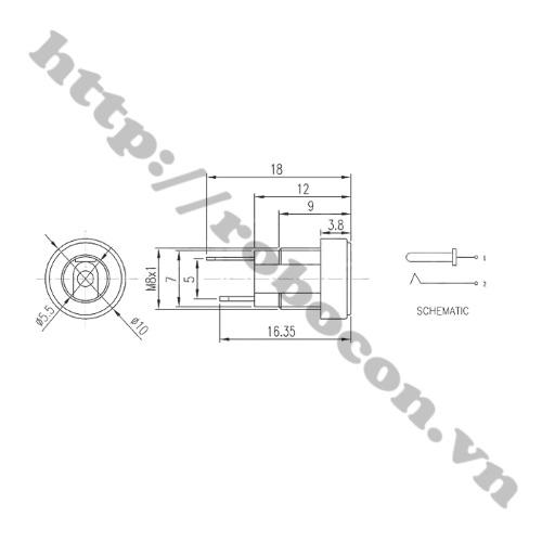 CO229 Chân Cắm Nguồn Cái DC 3.5x1.35mm