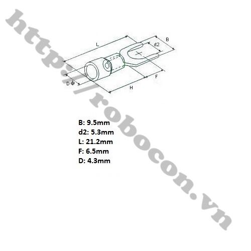 CO151 Đầu Cos Chữ Y – Đầu Cos Càng Cua SV1.25-5L (1 Cặp)