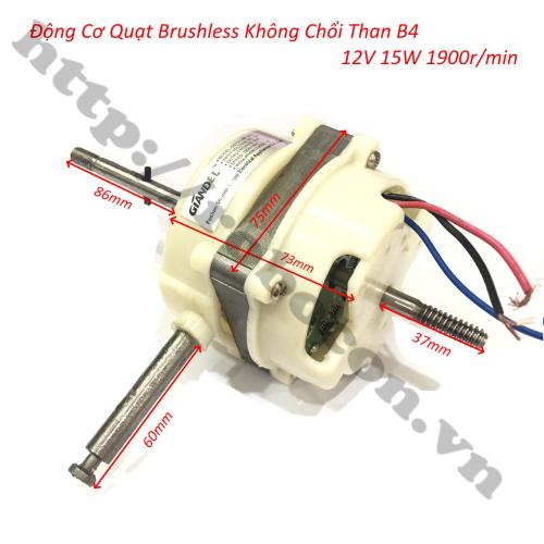 kích thước Động Cơ Quạt Brushless Không Chổi Than B4 12V 15W 1900r/min